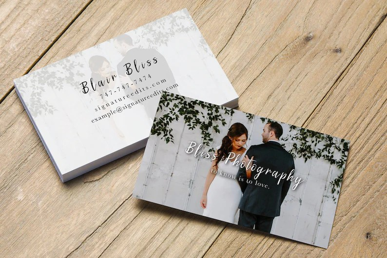 SALE Photography Business Card / PSD Template for Wedding Etsy