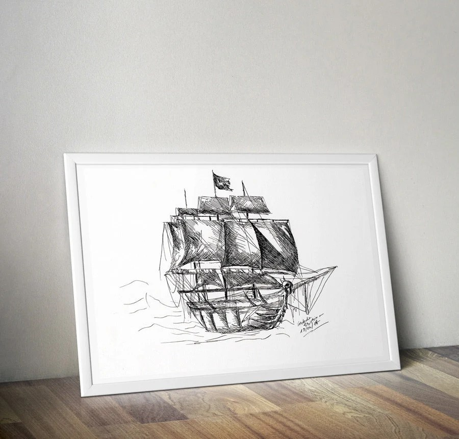 Pirate Ship Print Printable Ink Ship Black and White Instant Etsy