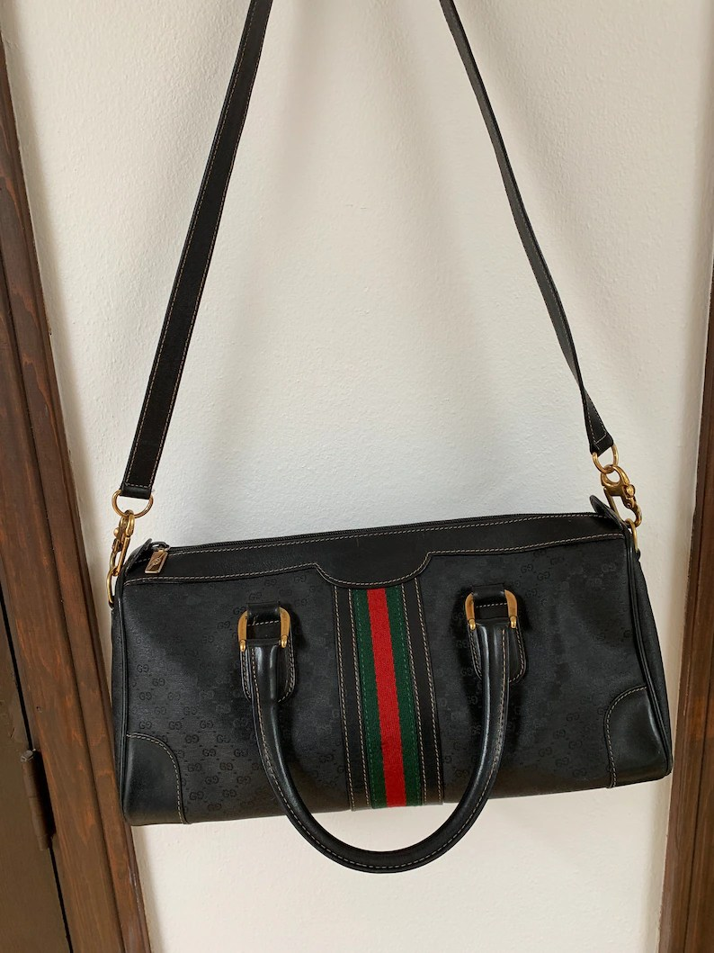 Etsy Vintage Gucci Vintage Gucci Gg Black Red Green Web Leather Stripe Supreme Ophidia Sherry Camera Bag Leather Crossbody Shoulder Bag Satchel Purse Handbag