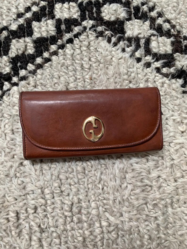 Etsy Vintage Gucci Vintage Gucci Gg Logo Tan Cognac Brown Leather Snap Clasp Line Supreme Snap Button Closure Wallet Card Holder Coin Case Purse