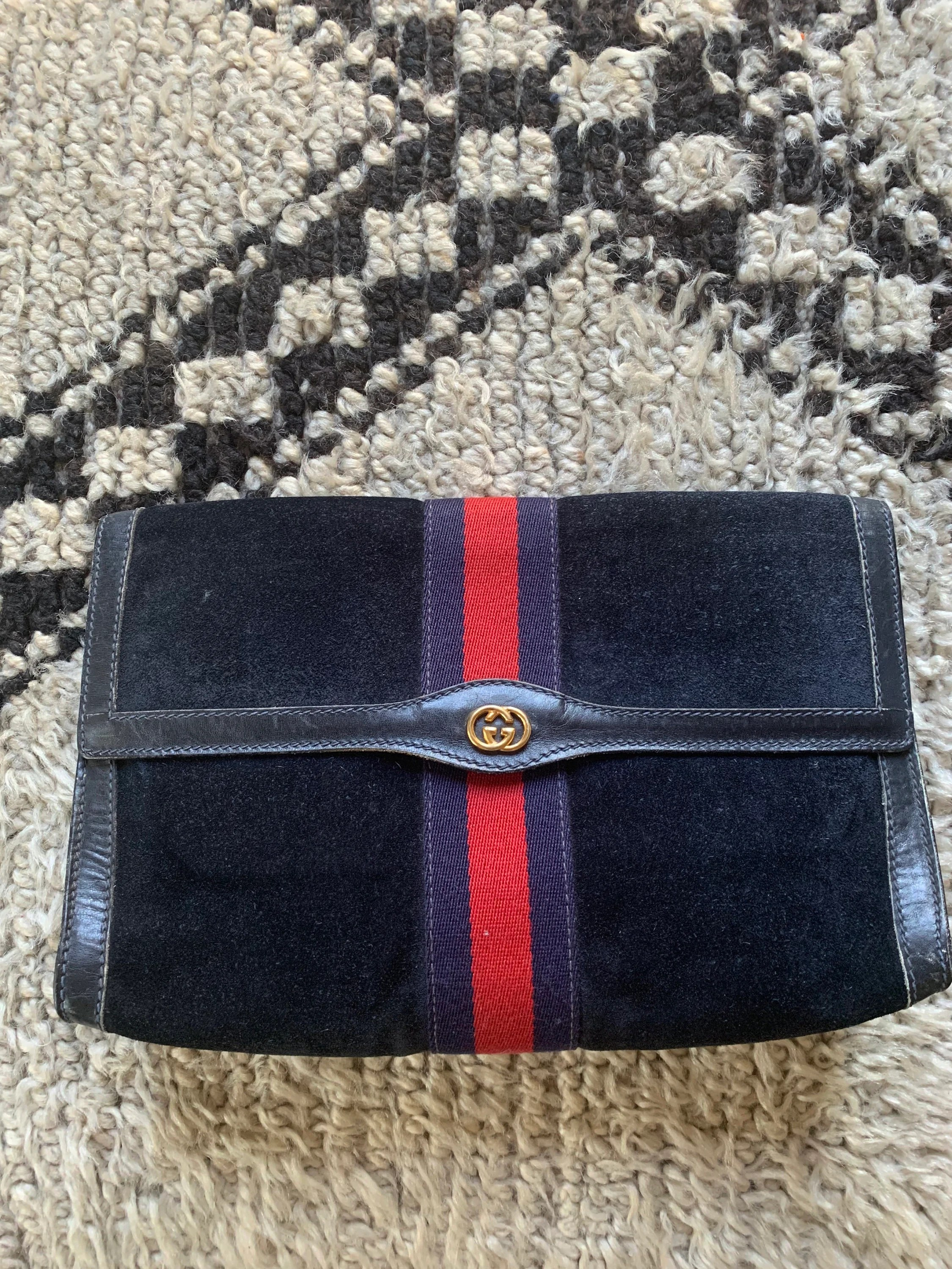 Etsy Vintage Gucci Vintage Gucci Parfumes Gg Logo Monogram Navy Blue Suede Web Sherry Line Red Striped Leather Supreme Zip Closure Clutch Pouch Case Purse Bag