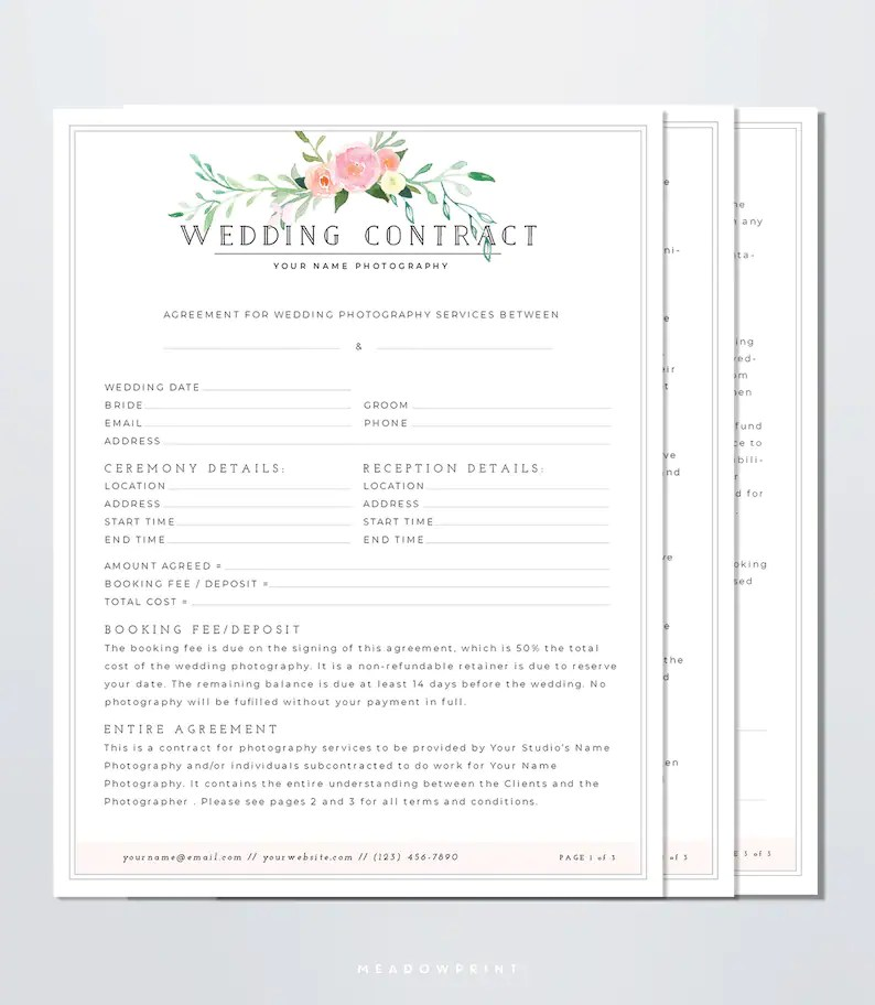 Wedding Photography Contract Template Client Booking Form Etsy