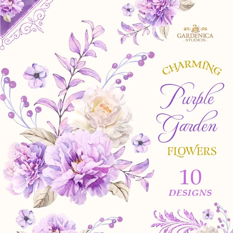 Watercolor Purple Flowers Purple Flower Clipart Watercolor Etsy