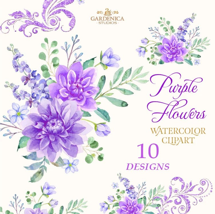 Purple Flowers Watercolor Purple Flower Clipart Violet Etsy