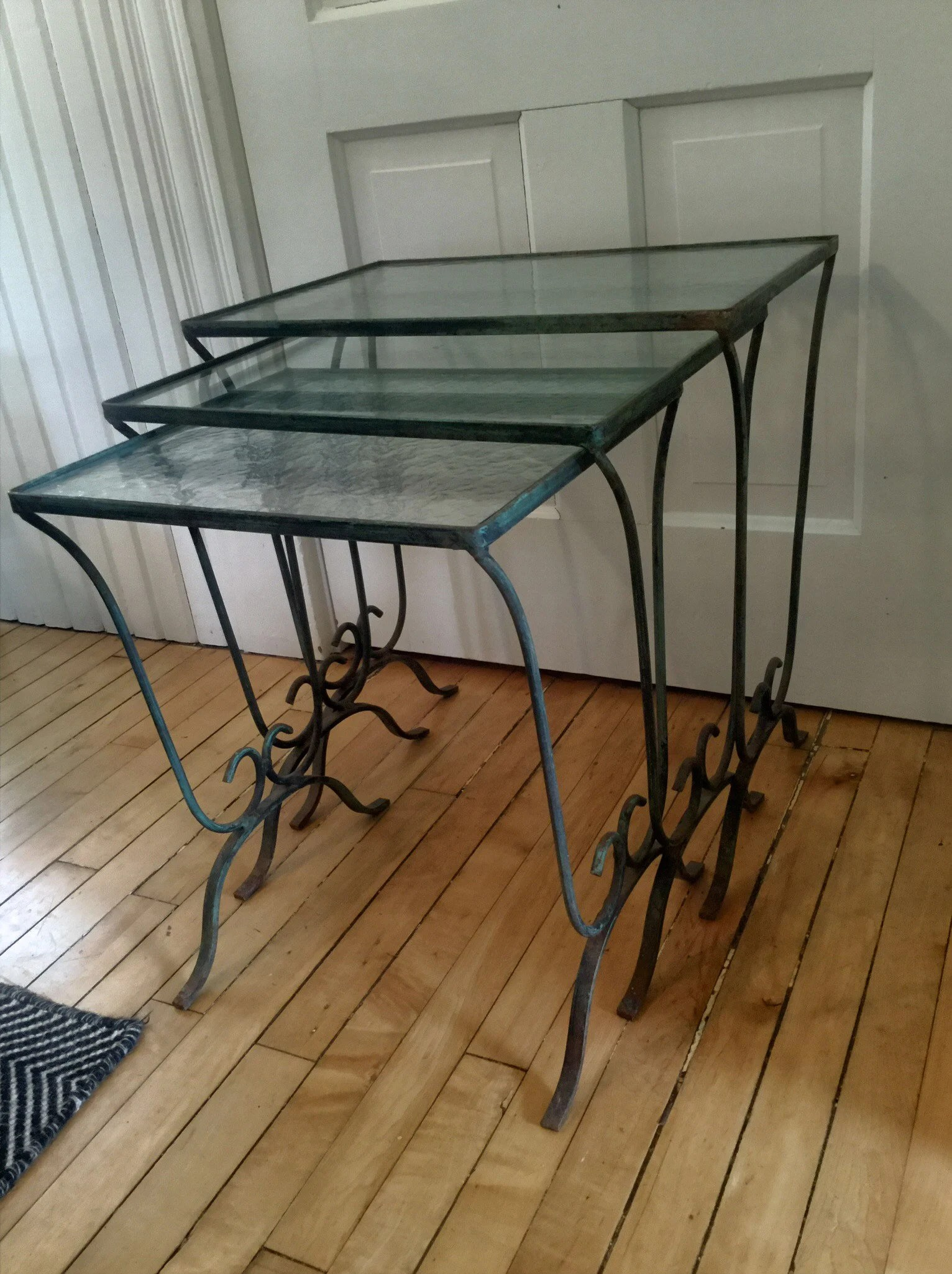 Glass Nesting Tables Outdoor Nesting Tables Iron And Glass Vintage Glass Top Set Of 3 Metal Patio Tables Porch Tables End Table Side Table Occasional