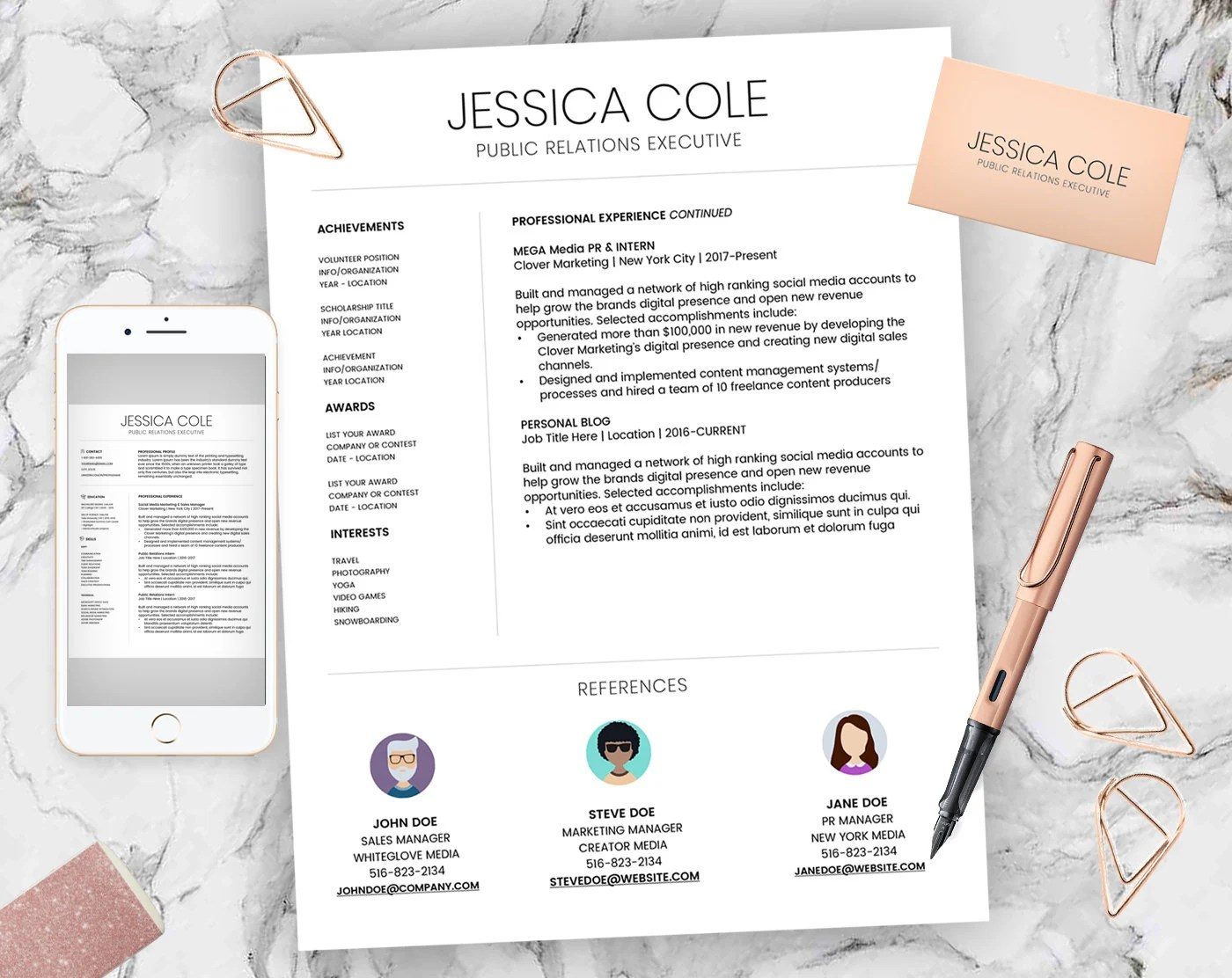 Creative Resume Template CV Template Cover Letter For MS Etsy