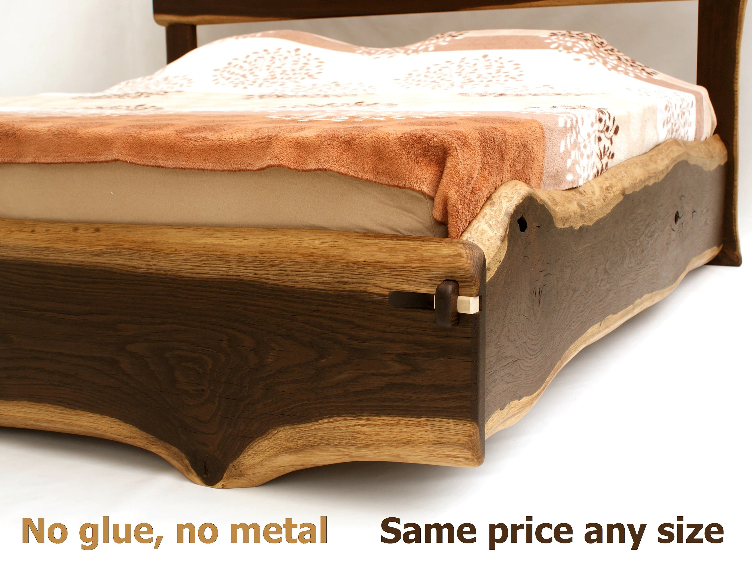 Queen Bett Live Edge Bed Any Size Double Queen King Superking Californiaking