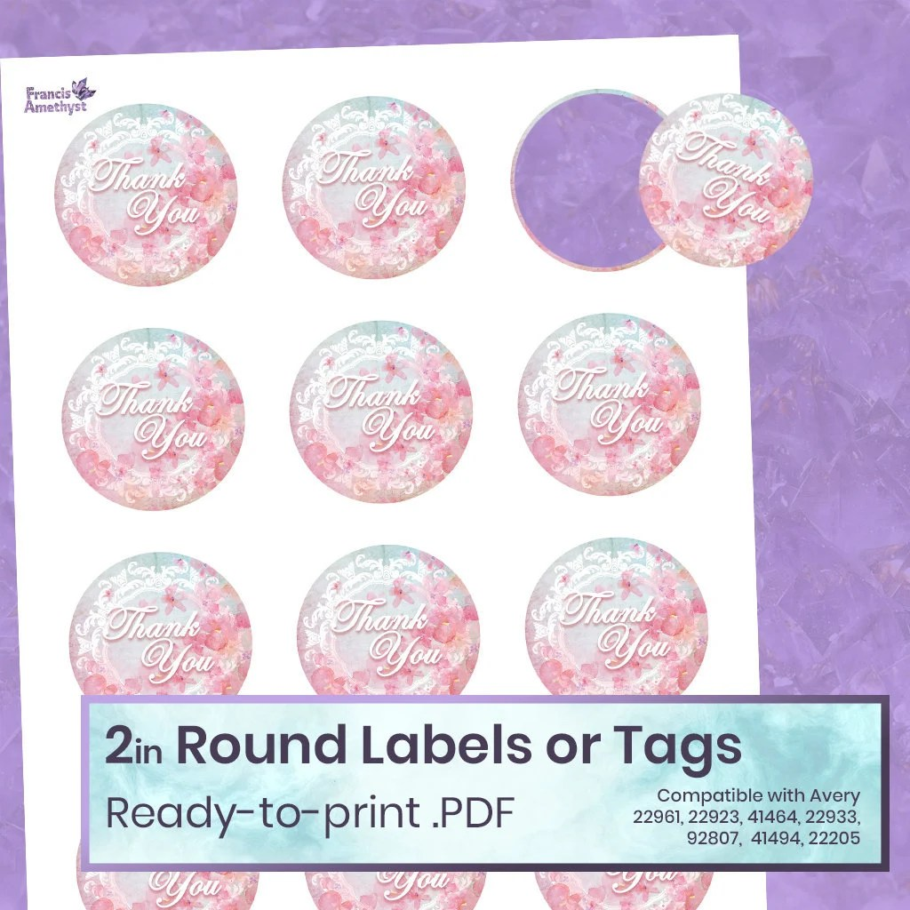 Thank You Gift Tag 2 inch Printable Round Labels Stickers Etsy