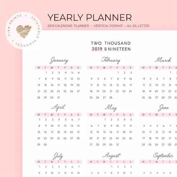 2019 calendar planner printable year calendar year at a Etsy