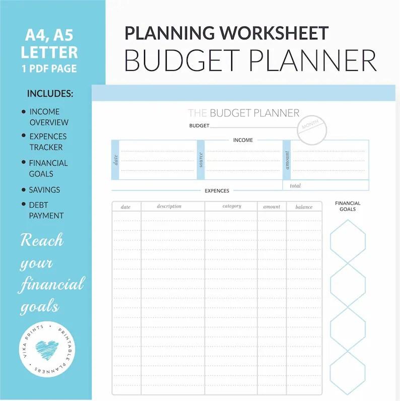 Budget planner printable budget worksheet budget tracker Etsy