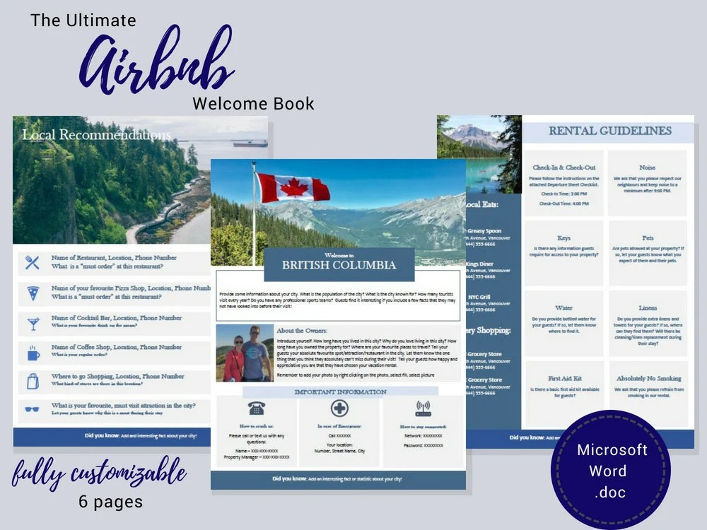 Welcome Book British Columbia Guest Book Airbnb Etsy