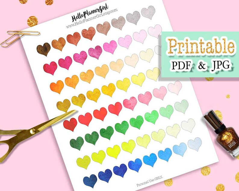 Colorful Watercolor Heart Stickers Printable Rainbow Heart Etsy
