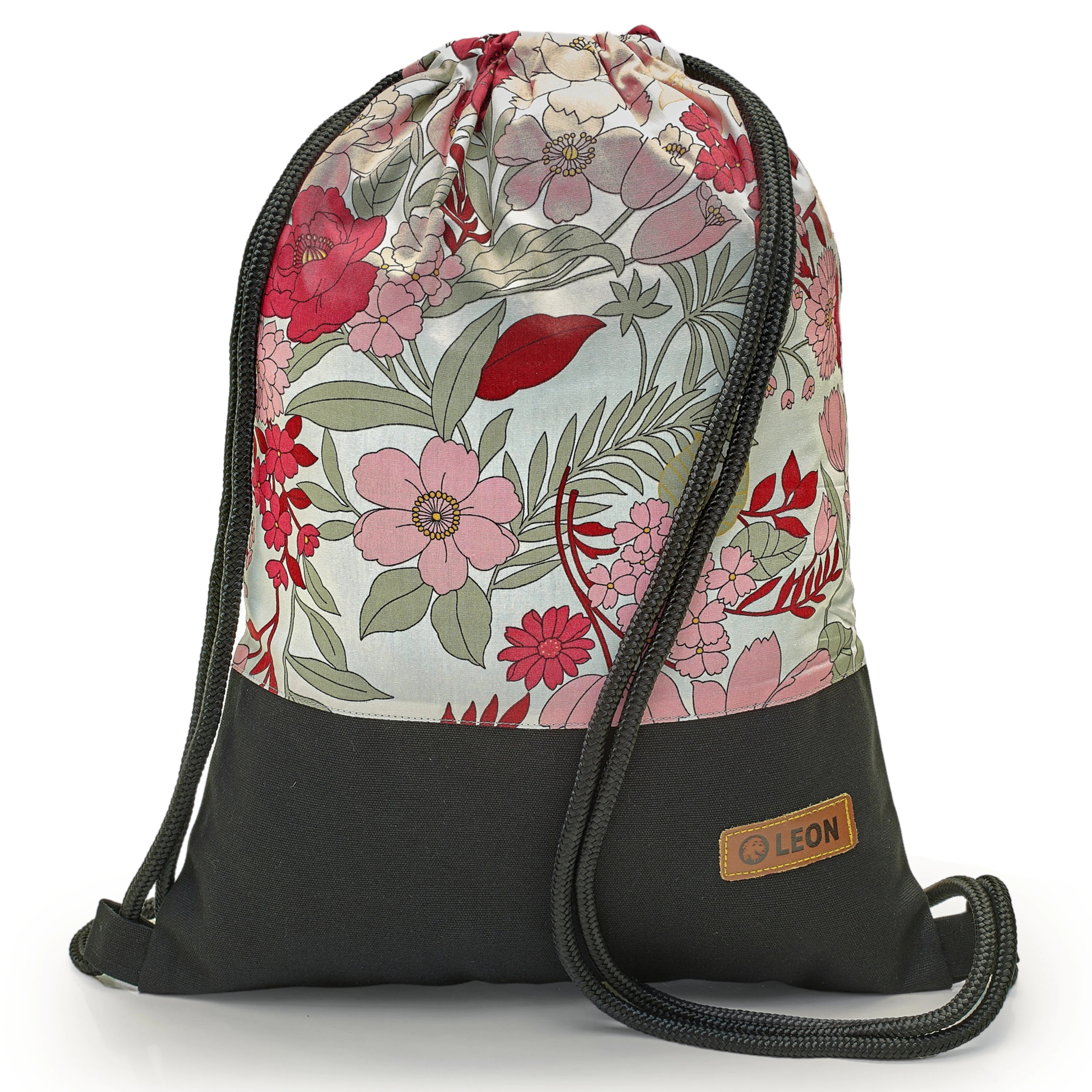 Gs Prüfung Leon By Bers Bag Gym Bag Backpack Sports Bag Cotton Gym Bag Width 34 Cm Height 45 Cm, Pink Grey Flowers On White, Black. Fabricfloor