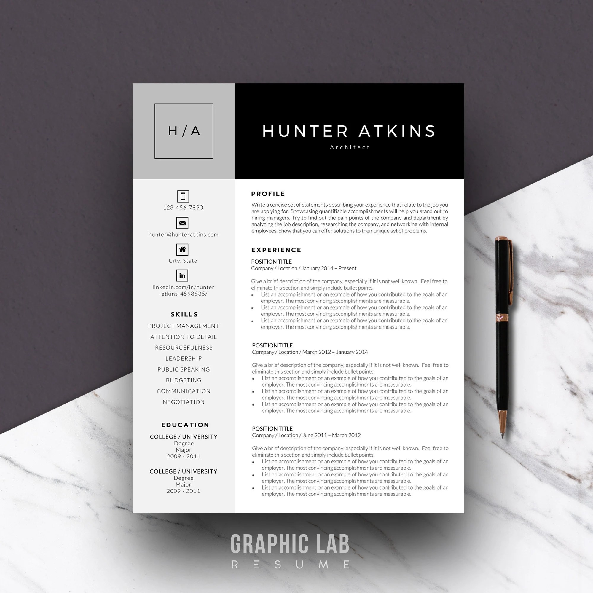 Resume Template One Page Curriculum Vitae One Page Resume Etsy