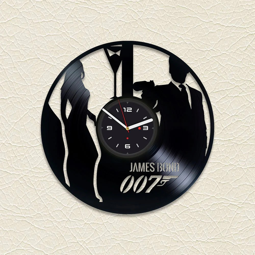 Black Wall Clock James Bond Print Black Wall Clock Vinyl Clock Handmade Wall Clock Vinyl Record Clock Office Decor Vinyl Record Art Modern Wall Clock Vinyl