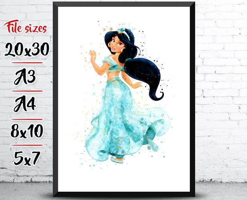 Princess Jasmine Poster Aladdin Printable Disney Watercolor Etsy