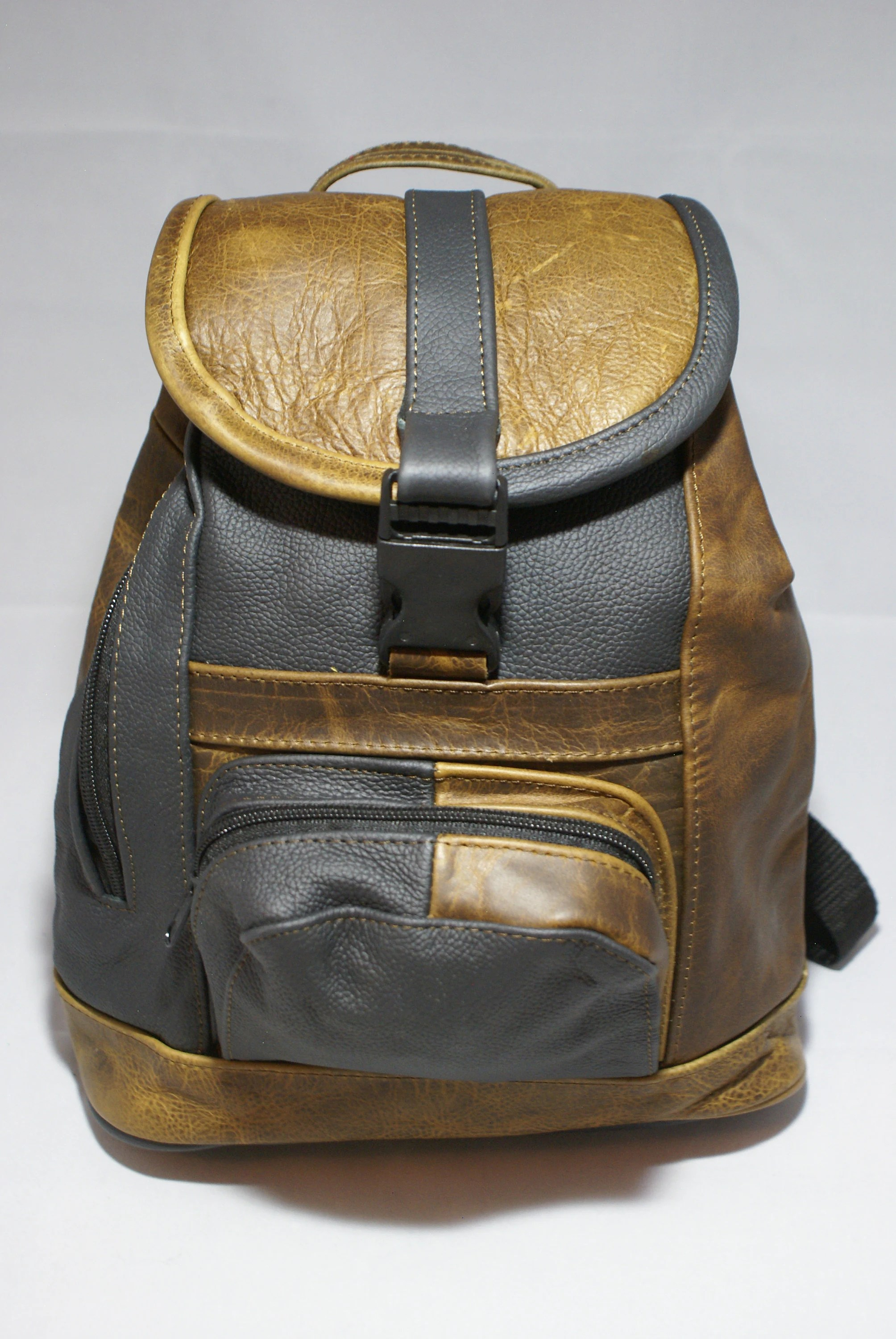 Travel Rucksack Genuine Leather Backpack Two Toned Purse Bag Travel Rucksack Handmade Patch Work With Pockets