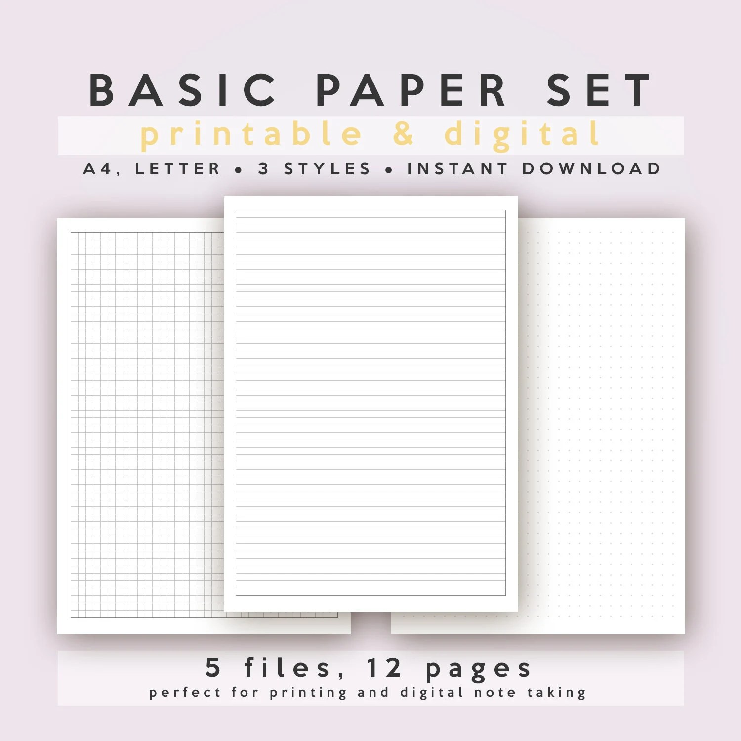 Basic Paper Set Lined/Ruled Squared/Grid Dotted A4 and Etsy