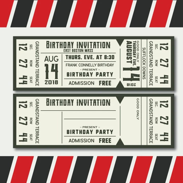 Concert ticket templates in svg ready to print editable high Etsy