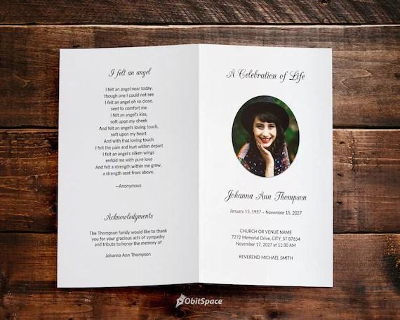 Funeral Program Template Celebration of Life Obituary Etsy