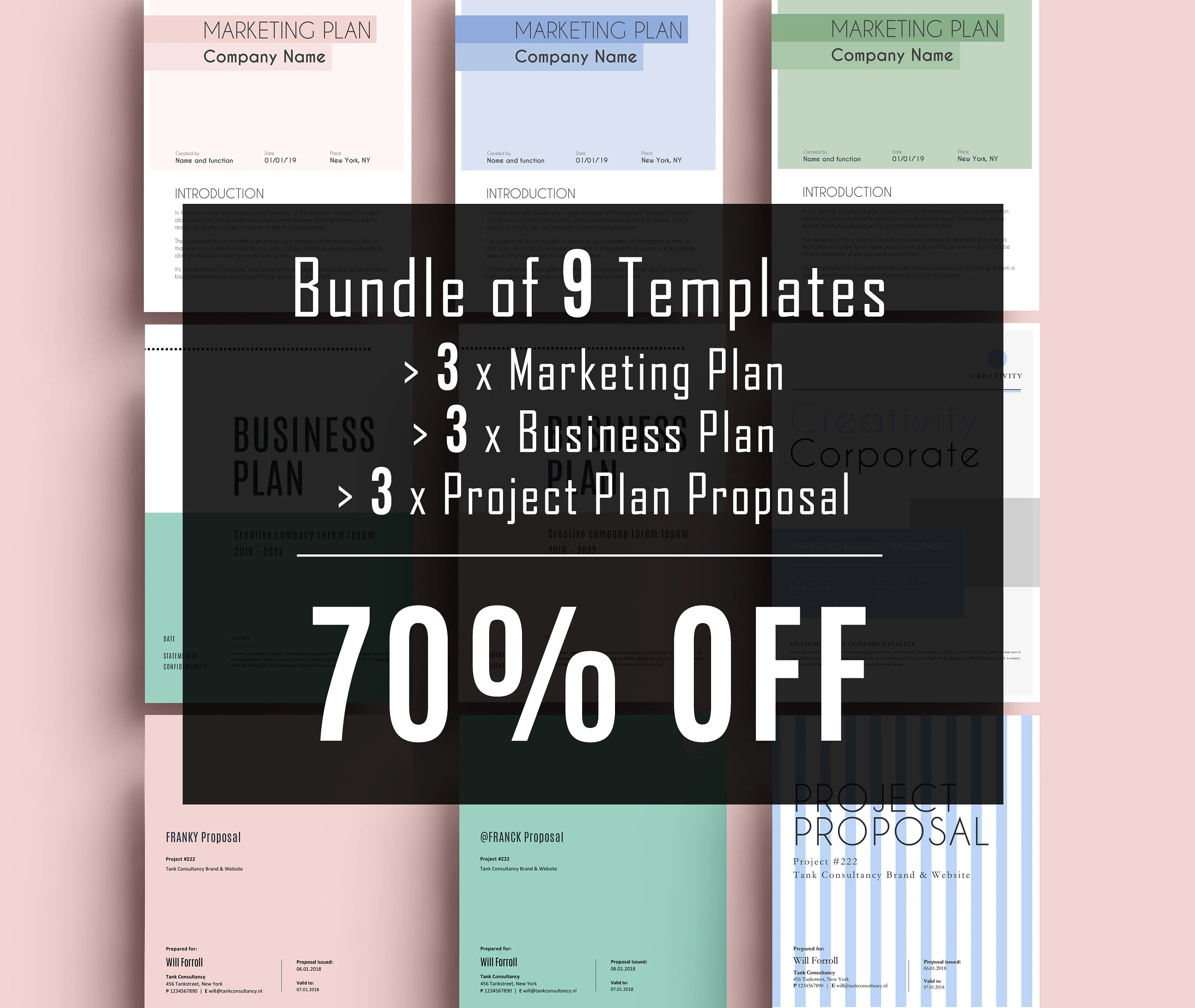 Bundle of 9 Templates Business Plan Template Project Etsy