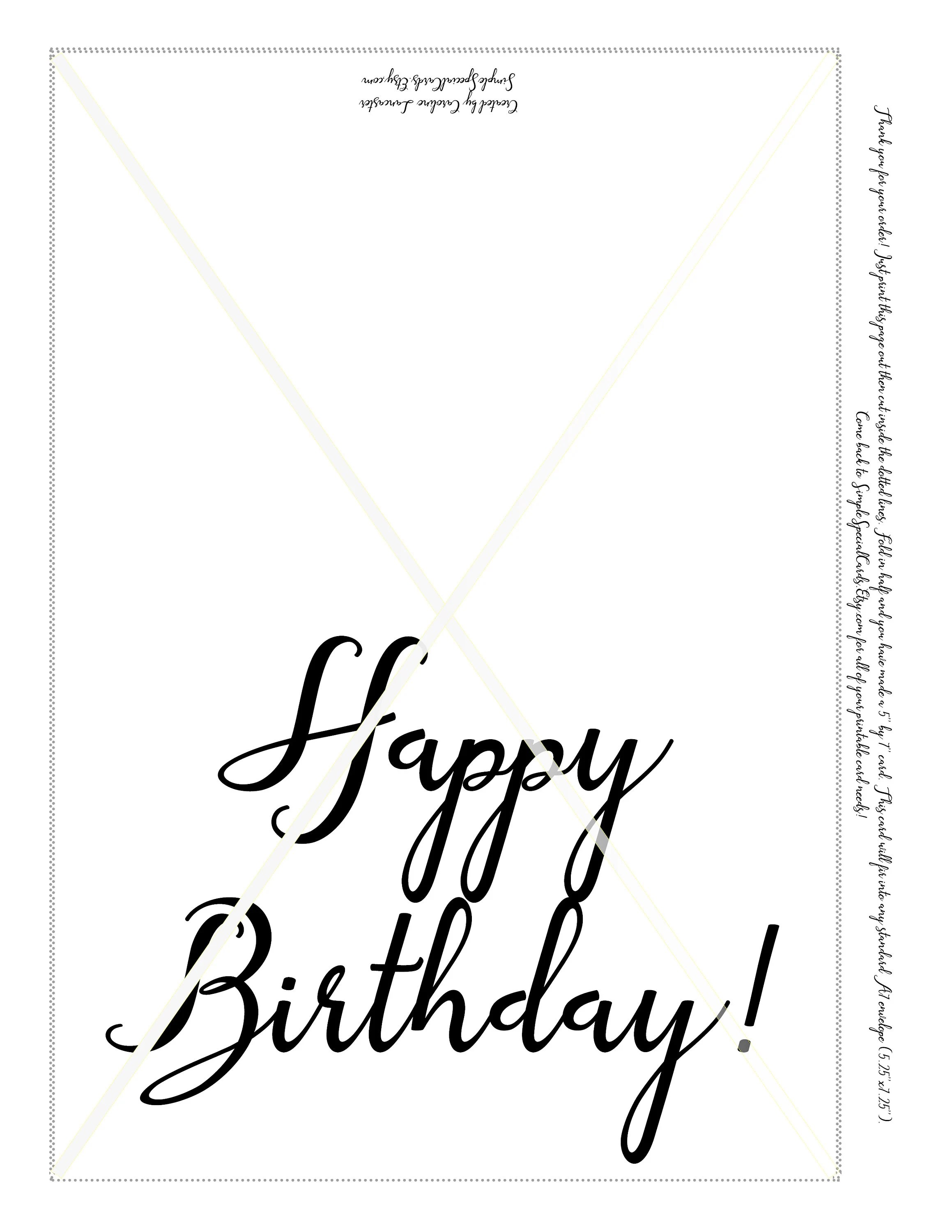 Printable Birthday Card Black and White Simple Birthday Card Etsy