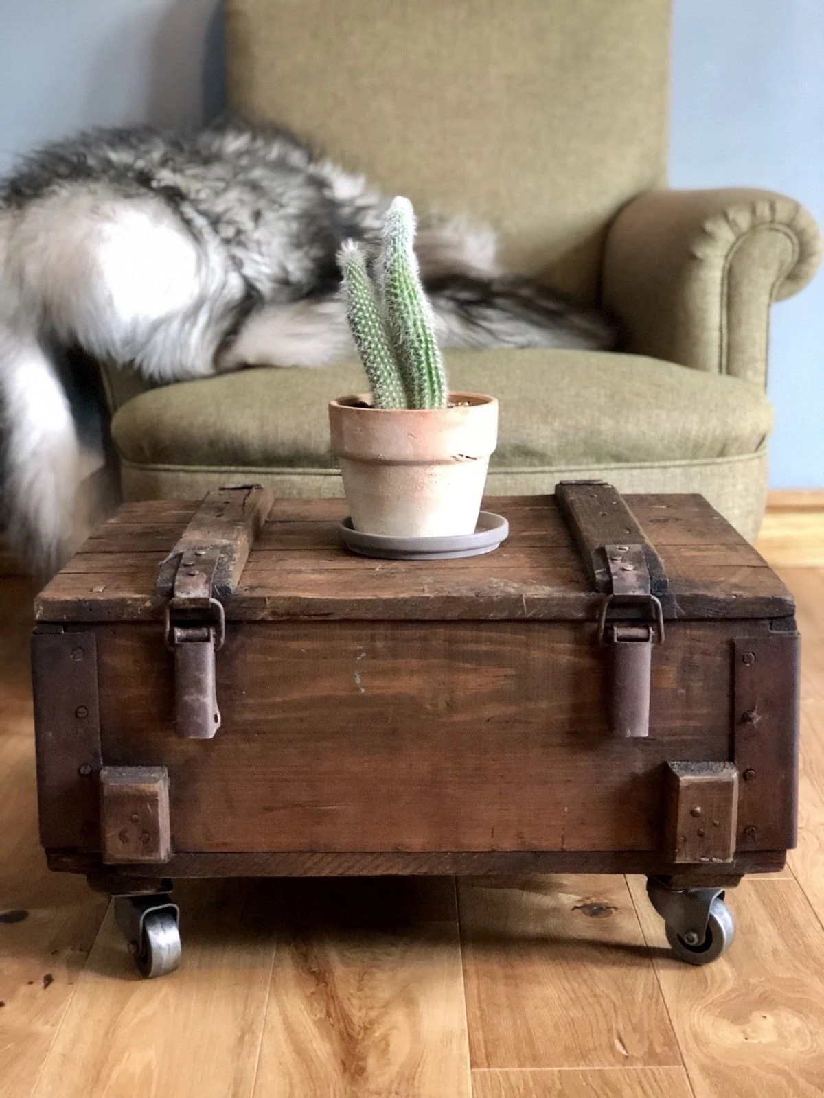 Storage Table On Wheels Rustic Industrial Coffee Table Storage Table Vintage Wooden Trunk