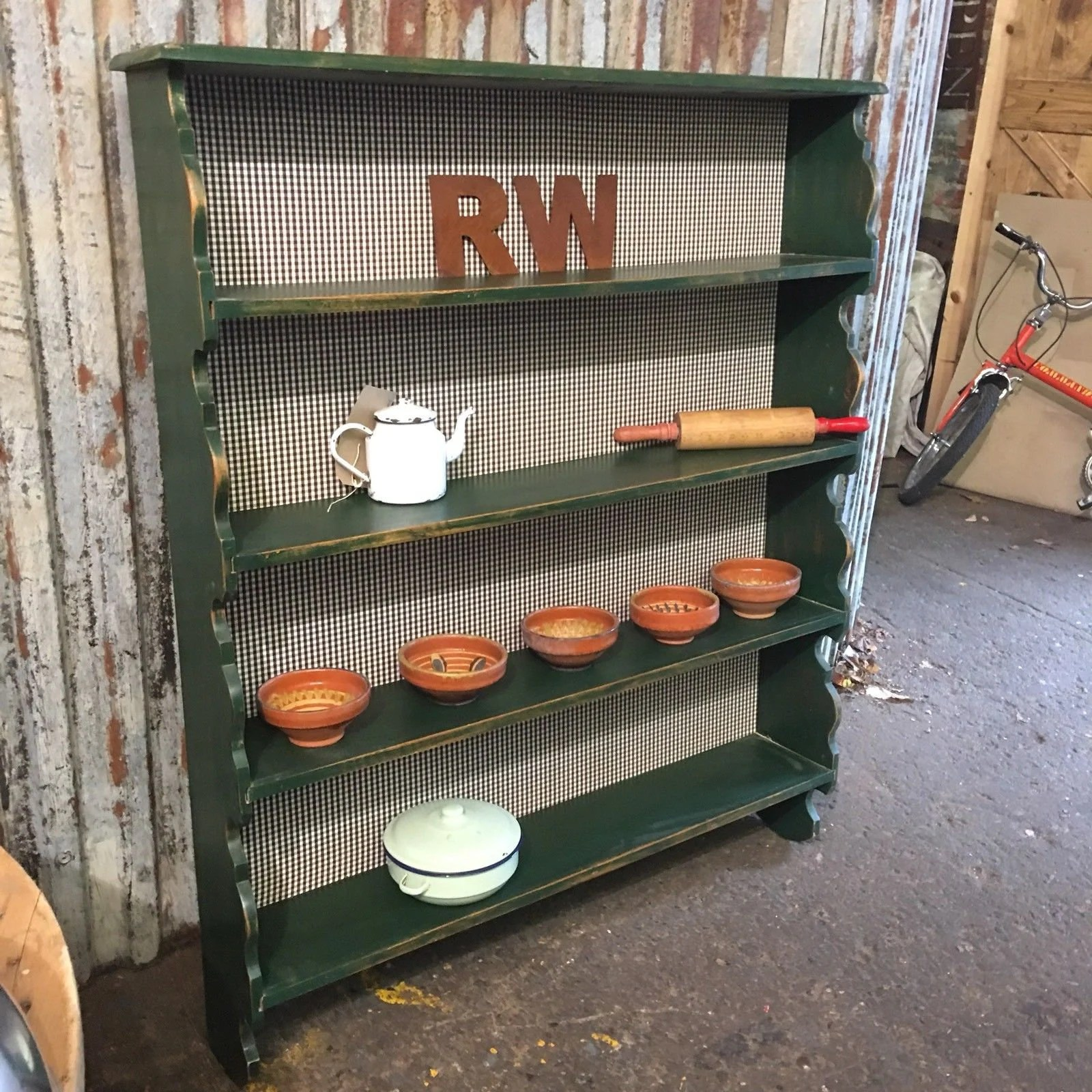 Country Kitchen Shelves Rustic Oak Painted Plate Rack Shelves Green Country Kitchen Farmhouse