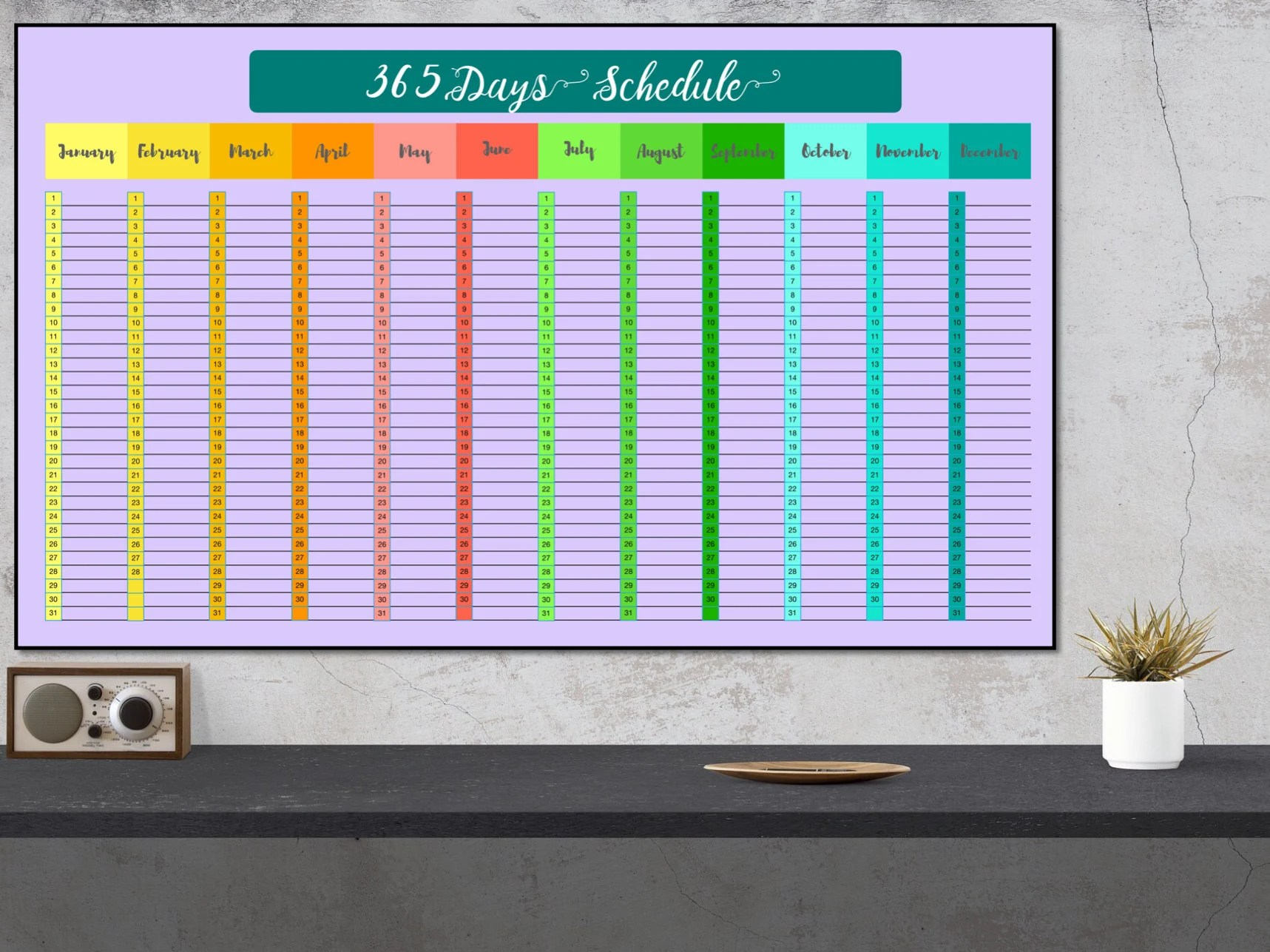 365 daily schedule yearly chart planner annual schedule Etsy