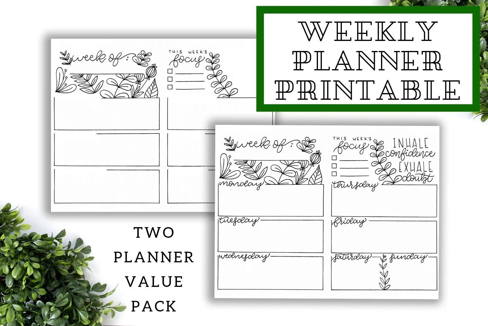 Bullet Journal Template Planner Printable 2019 Weekly Etsy