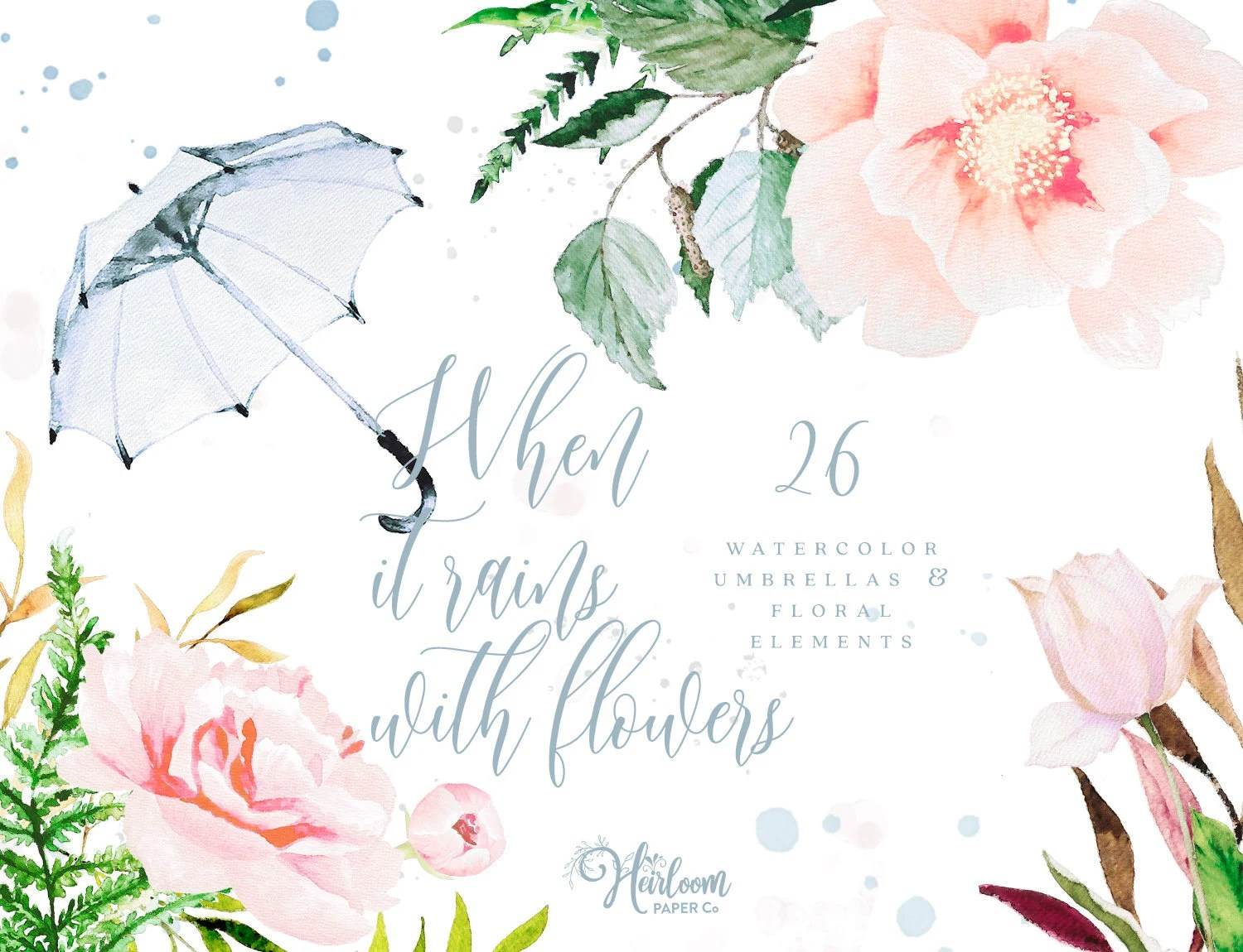Baby Dankeskarten Diy Watercolor Floral Elements Clipart Umbrella Clipart Peony Clipart Watercolor Fern Greenery Flower Clipart When It Rains With Flowers
