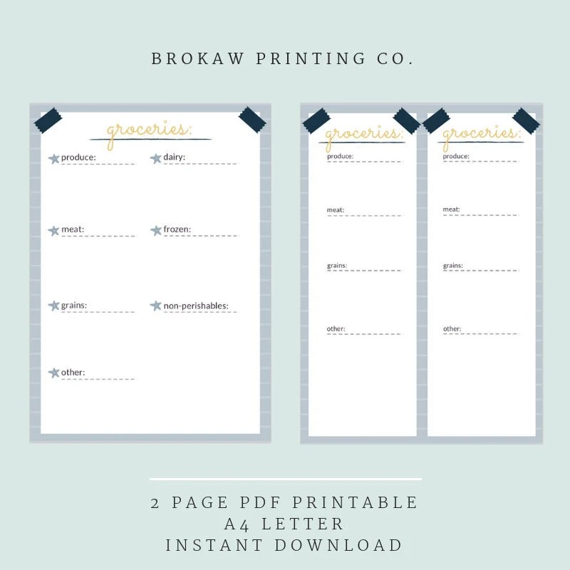 Grocery List Printable Shopping List Meal Planner Market Etsy