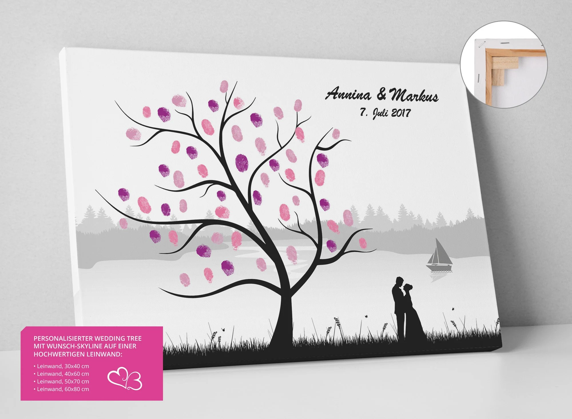 Fotoleinwand 60x80 Wedding Tree Finger Print Tree Skyline Lake Boat