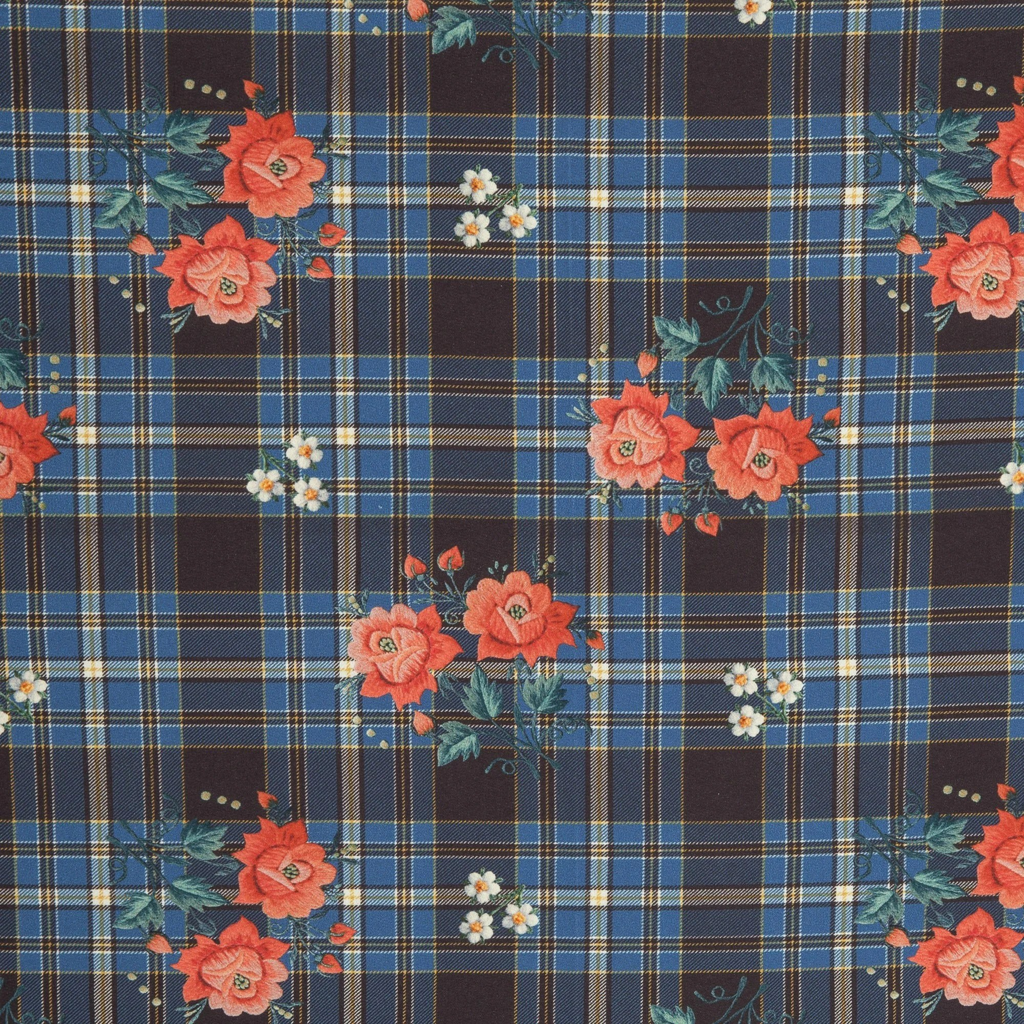 Stofftruhe Leipzig French Terry Jette Flowers Colorful On Dark Blue Plaid