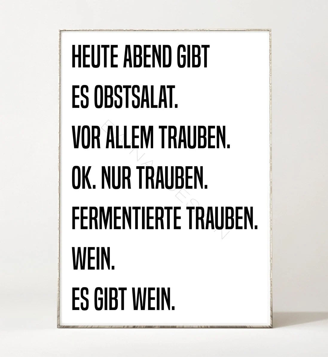 Poster Spruch Obstsalat Art Print Poster Picture Din A4 Typography Spruch Kitchen Wine Witty