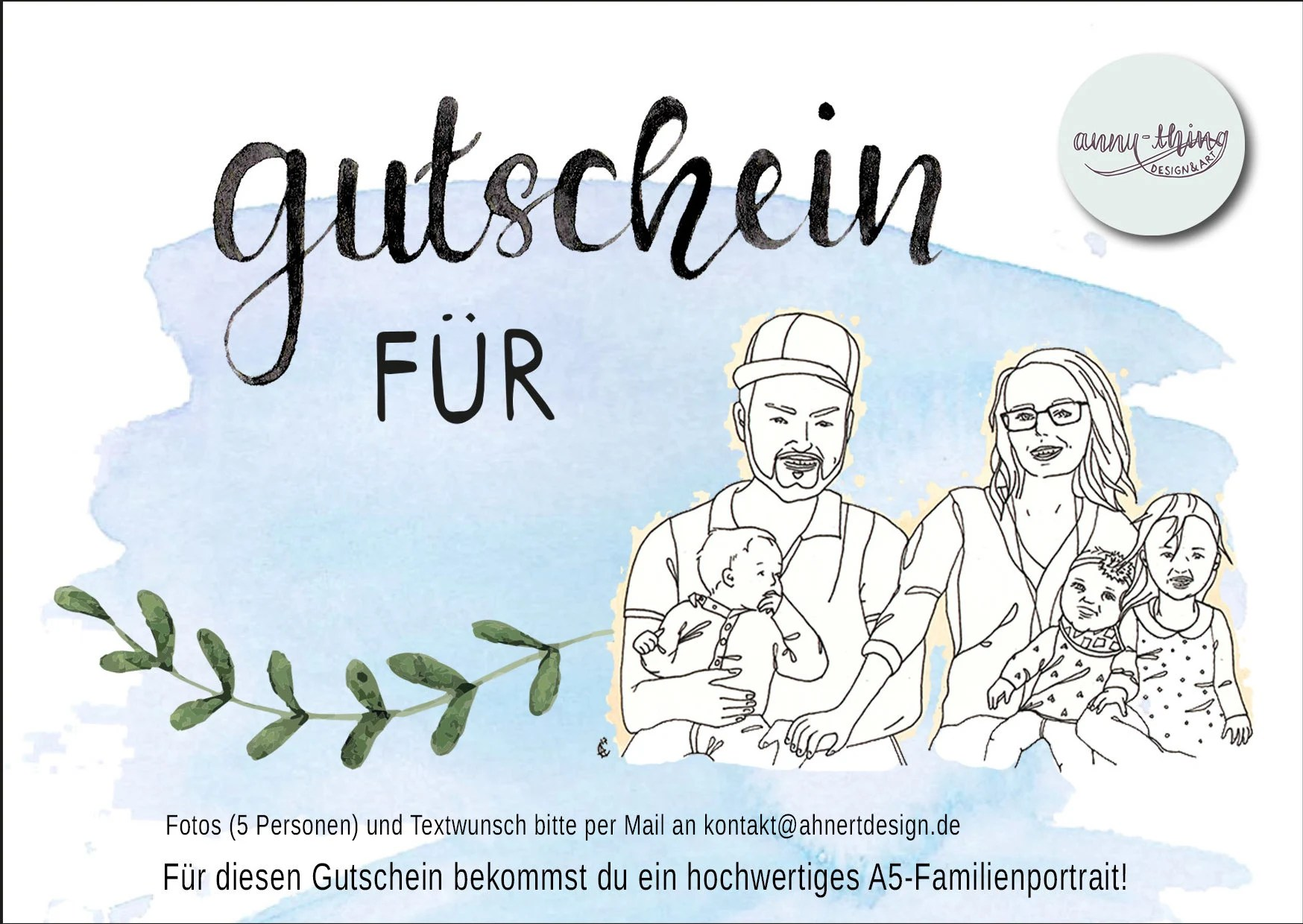Gutschein Family Coupon Doodle Portrait Family 5 Pers Pdf Etsy