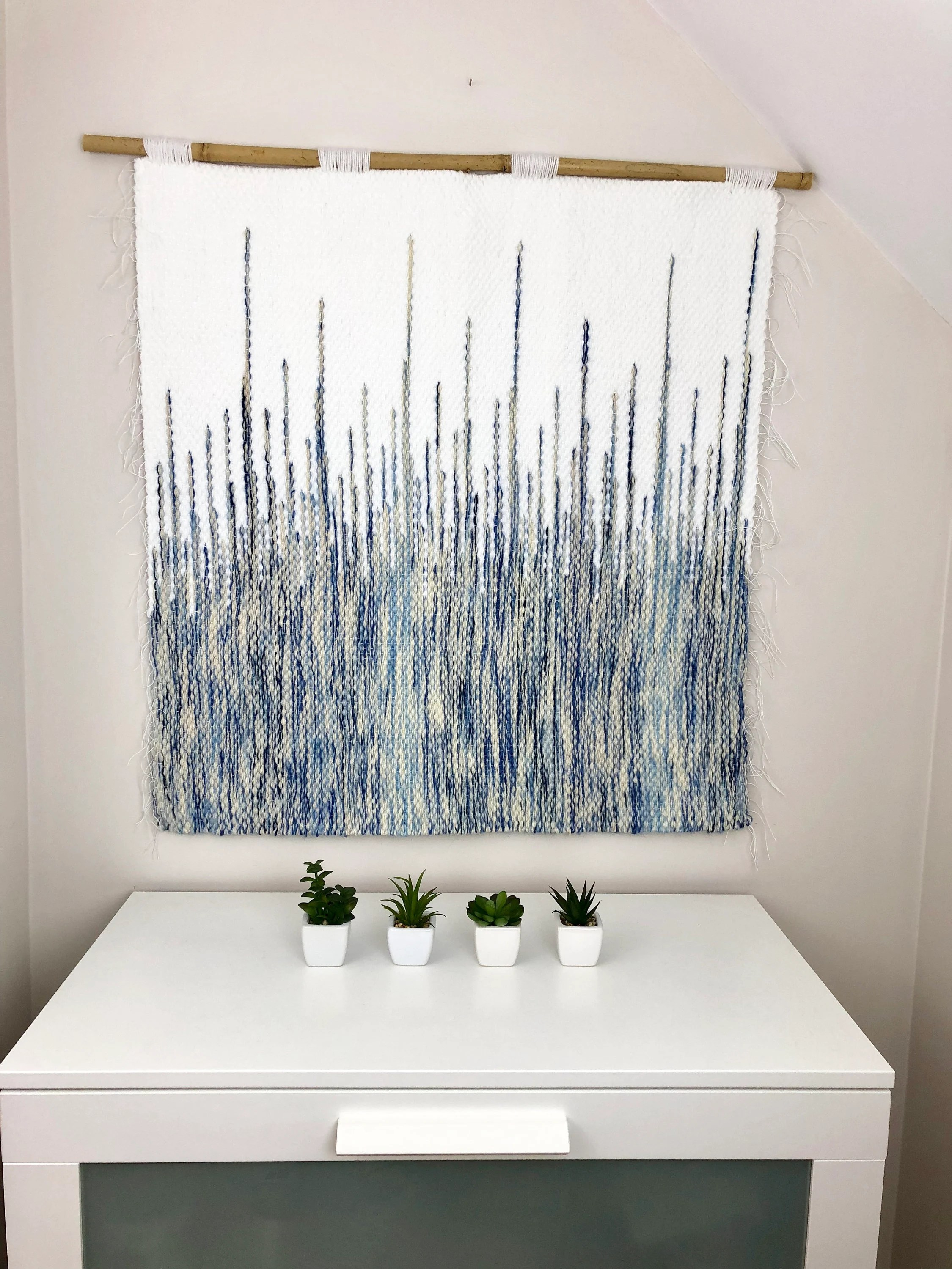 Wandteppich Modern Blue Macrame Wall Hanging Modern Tapestry Best Selling Art Woven Wall Hanging Horizontal Wall Art Makramee Wandbehang Weaving Loom Kit