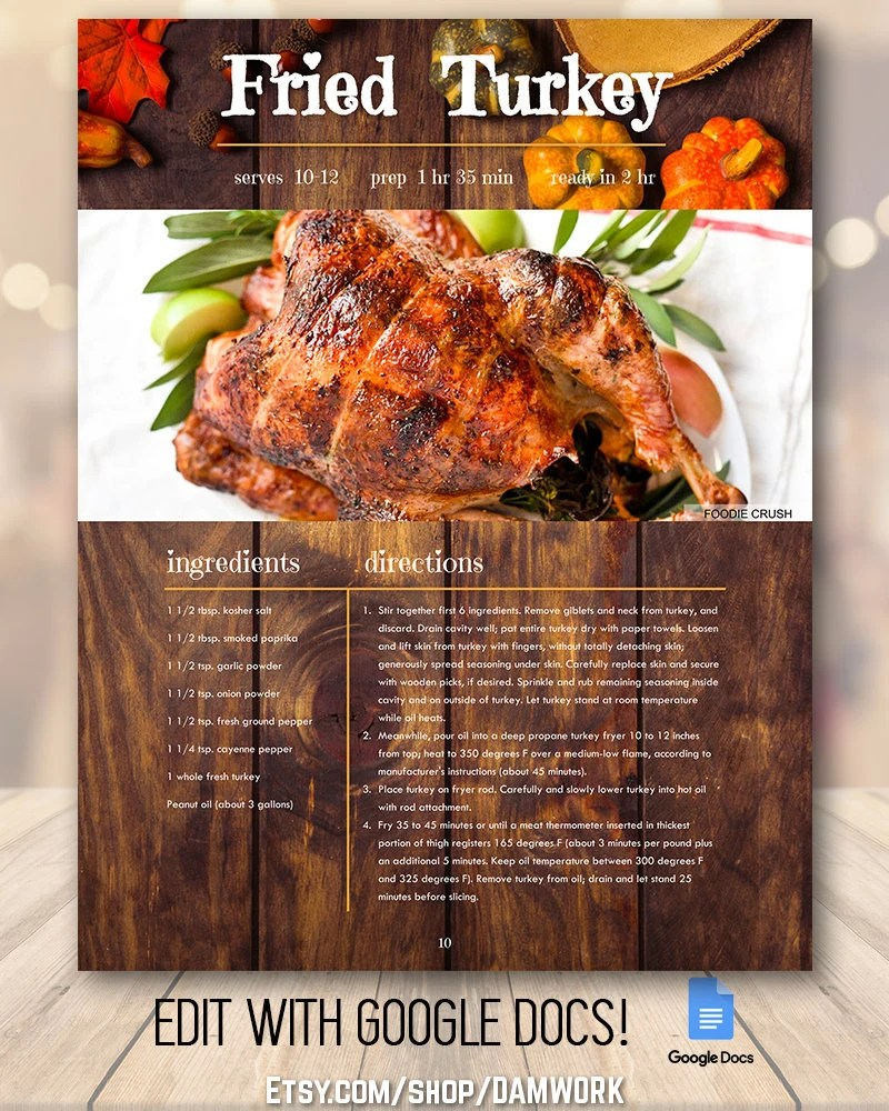 Thanksgiving Holiday Recipe Book Template Rustic Traditional Etsy