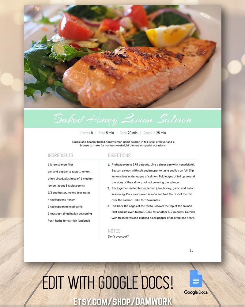Recipe Book Template Family Cookbook Template Editable Etsy