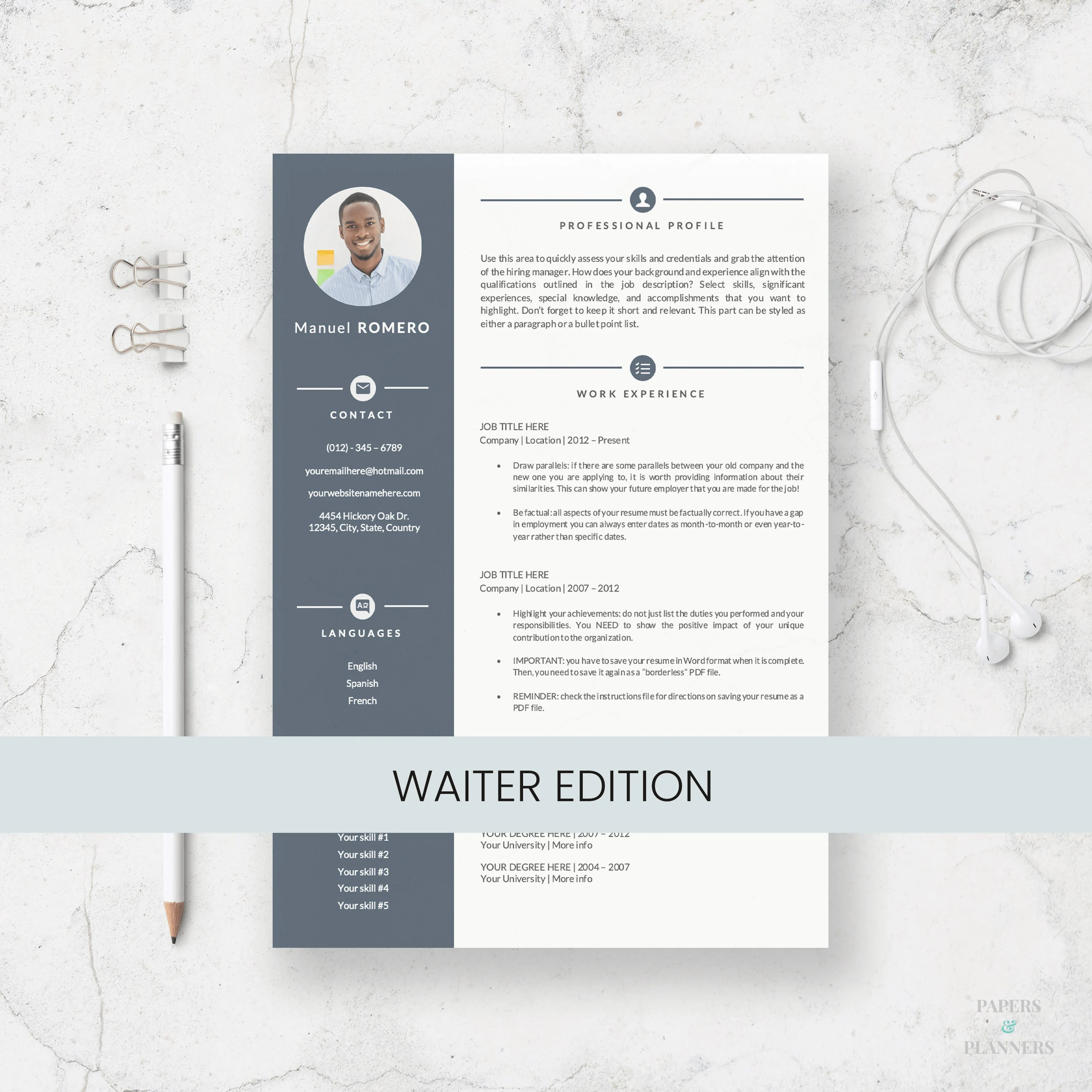 Waiter Resume Template for Microsoft Word Curriculum Vitae Etsy