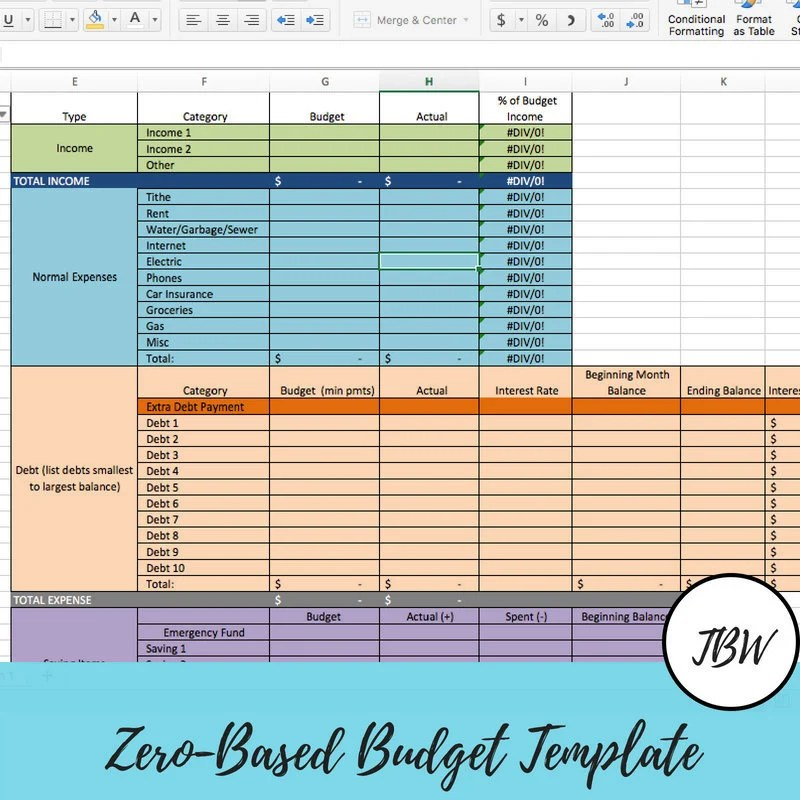 Monthly Budget Template Zero-Based Budget Excel Download Etsy