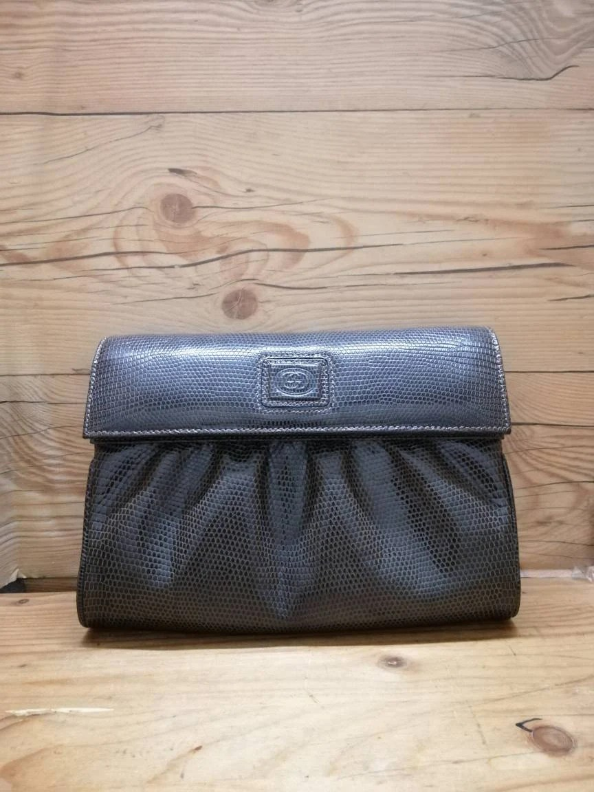 Etsy Vintage Gucci Authentic Vintage Gucci Gc Lizard Leather Sling Clutch Bag