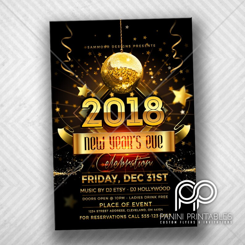New Years Invitation New Years Party Gold New Years Invite Etsy