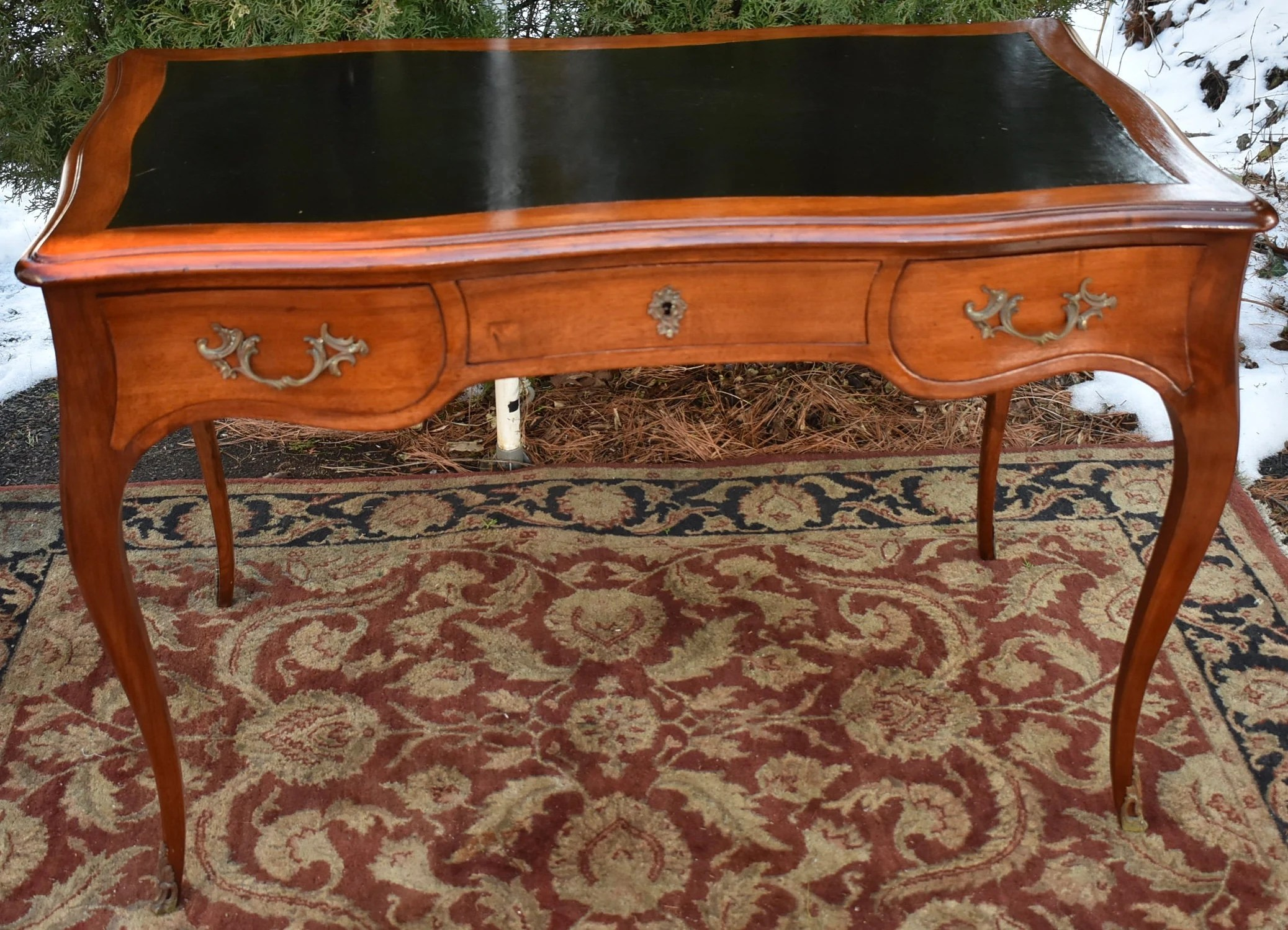 Mahogany Office Desk 1920s French Louis Xv Mahogany Black Leather Top Office Desk Bronze Handles
