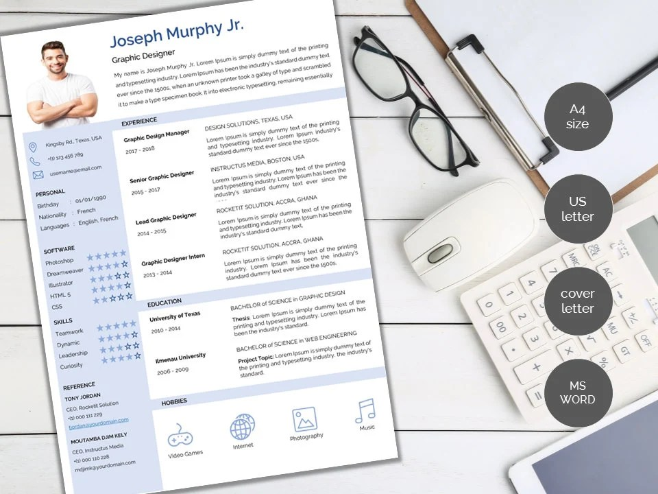 Modern Professional one-page two-pages resume/ CV template Etsy