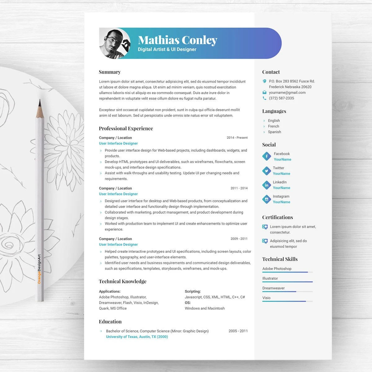 Graphic Resume Template with Photo / CV Template Cover Etsy