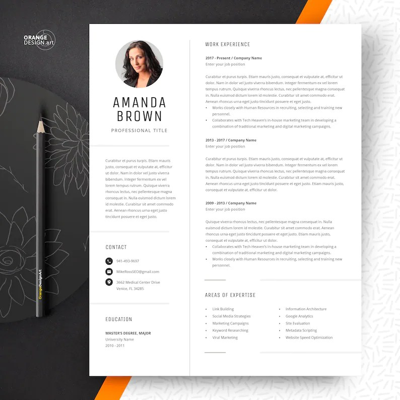 Project Manager Resume Template CV Template with Photo Etsy