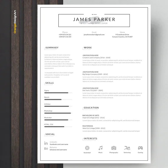 Professional Resume Template with Cover Letter Minimalist Etsy