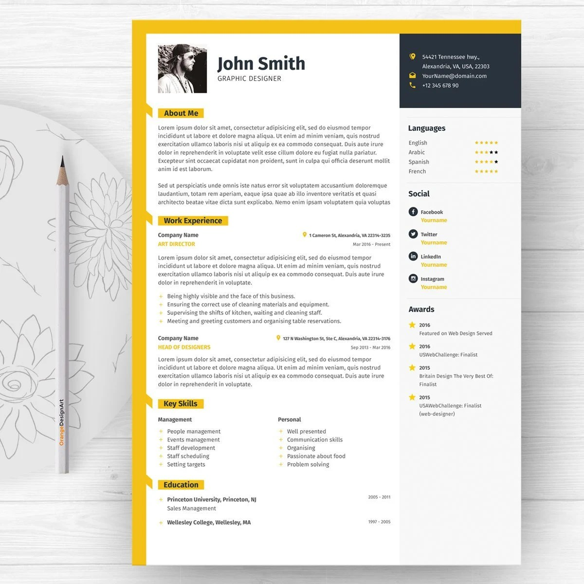 Word Resume Template with Photo / Graphic Designer CV Template Etsy