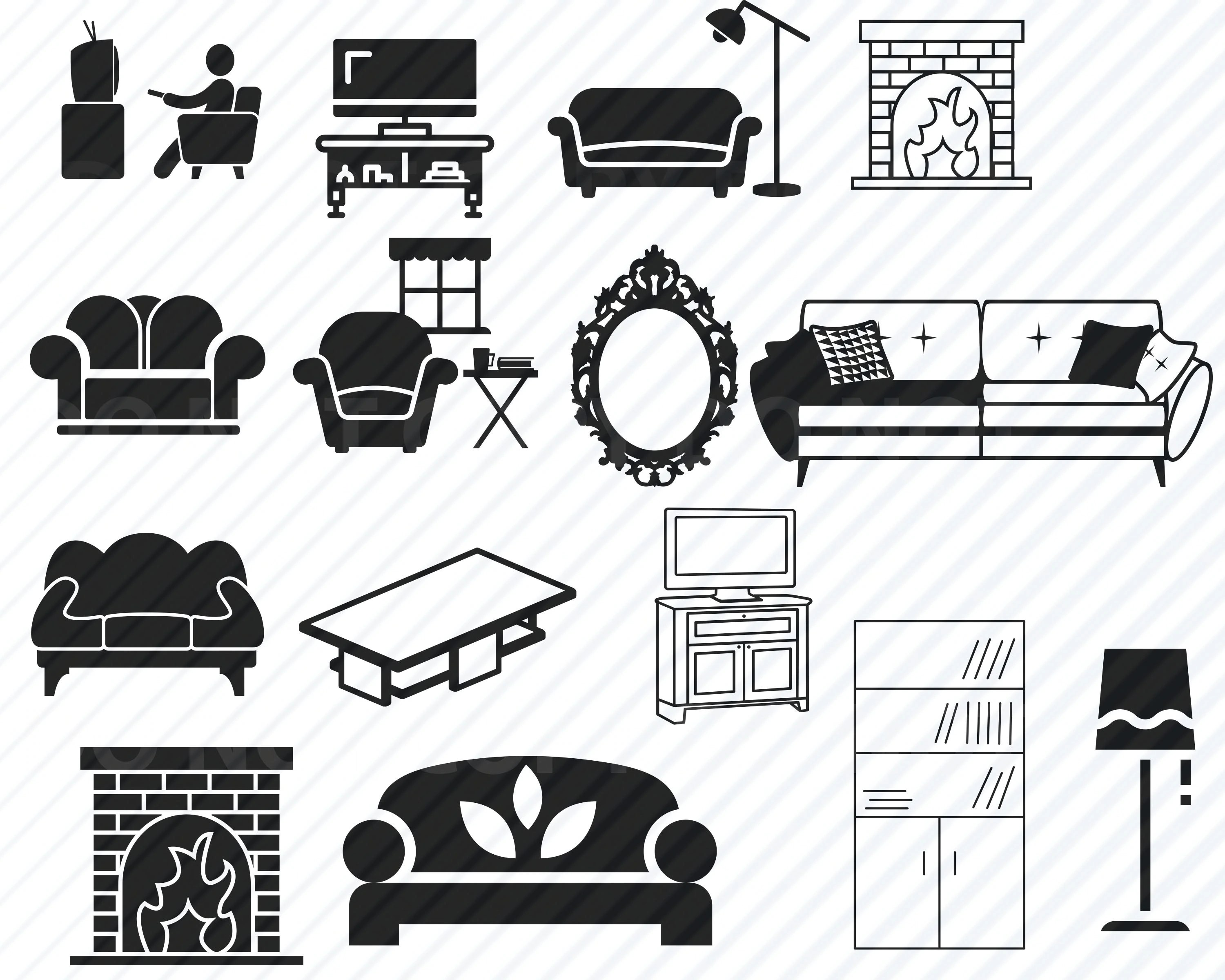 Sofa Set Vector Png Living Room Furniture Svg Bundle Couch Chair Table Silhouette Clip Art Sofa Svg Files For Cricut Eps Png Dxf Clipart Book Shelf Mirror